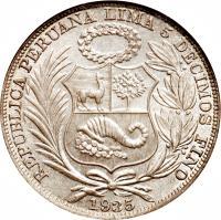 obverse of 1 Sol (1923 - 1935) coin with KM# 218 from Peru. Inscription: REPUBLICA PERUANA LIMA 5 DECIMOS FINO 1924