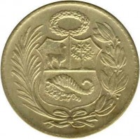 obverse of 1/2 Sol de Oro (1935 - 1965) coin with KM# 220 from Peru.