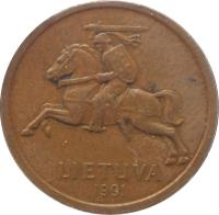 obverse of 20 Centų (1991) coin with KM# 89 from Lithuania. Inscription: LIETUVA 1991