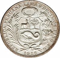 obverse of 1 Sol (1864 - 1916) coin with KM# 196 from Peru. Inscription: REPUBLICA PERUANA LIMA 9 DECIMOS FINO Y.B 1916