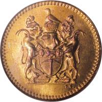 obverse of 1/2 Cent (1970 - 1977) coin with KM# 9 from Rhodesia.