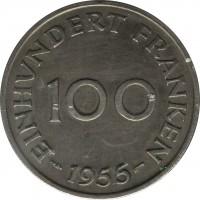 reverse of 100 Franken (1955) coin with KM# 4 from Saarland. Inscription: EINHUNDERT FRANKEN 100 1955