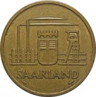 obverse of 50 Franken (1954) coin with KM# 3 from Saarland. Inscription: SAARLAND