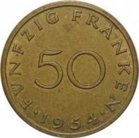 reverse of 50 Franken (1954) coin with KM# 3 from Saarland. Inscription: FÜNFZIG FRANKEN 50 · 1954 ·
