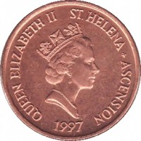 obverse of 1 Penny - Elizabeth II - 3'rd Portrait (1997 - 2006) coin with KM# 13a from Saint Helena and Ascension. Inscription: QUEEN ELIZABETH II ST .HELENA + ASCENSION RDM 1997