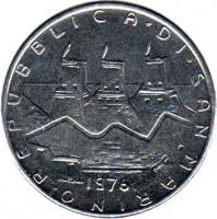 obverse of 100 Lire (1976) coin with KM# 57 from San Marino. Inscription: REPUBBLICA.DI.SAN MARINO. 1976