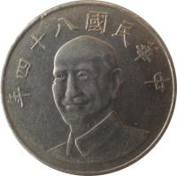 obverse of 10 Yuan (1981 - 2010) coin with Y# 553 from Taiwan. Inscription: 年八十七國民華中