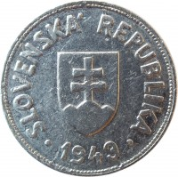 obverse of 50 Halierov (1943 - 1944) coin with KM# 5a from Slovakia. Inscription: SLOVENSKA' REPUBLIKA 1943