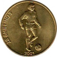 reverse of 25 Shillings - Soccer (2001) coin with KM# 103 from Somalia. Inscription: 25 SHILLINGS 2001