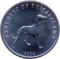 obverse of 20 Shillings (2002) coin with KM# 6 from Somaliland. Inscription: REPUBLIC OF SOMALILAND 2002