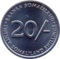 reverse of 20 Shillings (2002) coin with KM# 6 from Somaliland. Inscription: BAANKA SOMALILAND 20/- TWENTY SOMALILAND SHILLINGS