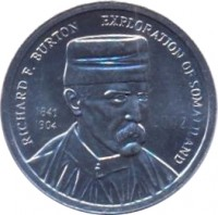 obverse of 5 Shillings (2002) coin with KM# 4 from Somaliland. Inscription: RICHARD F. BURTON 1841 1904 EXPLORATION OF SOMALILAND 2002