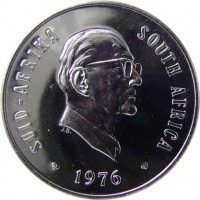 obverse of 20 Cents - Jacobus J. Fouché (1976) coin with KM# 95 from South Africa. Inscription: SUID-AFRIKA SOUTH AFRICA 1976 J.B.