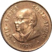 obverse of 1 Cent - Nicolaas J. Diederichs (1979) coin with KM# 98 from South Africa. Inscription: SUID-AFRIKA SOUTH AFRICA 1979 LDL