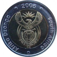 obverse of 5 Rand - AFRIKA DZONGA - SOUTH AFRICA (2005) coin with KM# 297 from South Africa. Inscription: Afrika Dzonga · 2005 · South Africa · ALS