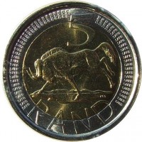 reverse of 5 Rand - AFRIKA DZONGA - SOUTH AFRICA (2005) coin with KM# 297 from South Africa. Inscription: 5 RAND ALS SARB SARB...