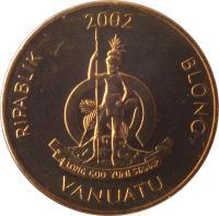 obverse of 1 Vatu (1983 - 2002) coin with KM# 3 from Vanuatu. Inscription: RIPABLIK BLONG VANUATU 1999 LONG GOD YUMI STANAP