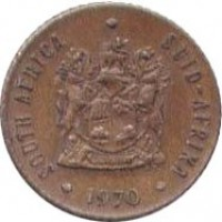 obverse of 1/2 Cent - SOUTH AFRICA - SUID-AFRIKA (1970 - 1983) coin with KM# 81 from South Africa. Inscription: SOUTH AFRICA SUID-AFRIKA EX UNITATE VIRES T.S. 1970