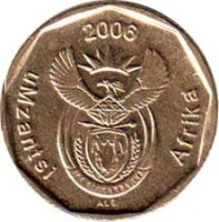 obverse of 20 Cents - UMZANTSI AFRIKA (2006) coin with KM# 488 from South Africa. Inscription: uMzantsi Afrika 2006 ALS