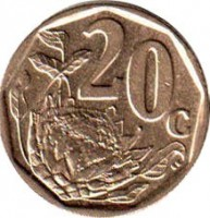 reverse of 20 Cents - UMZANTSI AFRIKA (2006) coin with KM# 488 from South Africa. Inscription: 20c SE