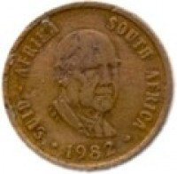 obverse of 1 Cent - Balthazar J. Vorster (1982) coin with KM# 109 from South Africa. Inscription: SUID-AFRIKA SOUTH AFRICA LDL 1982