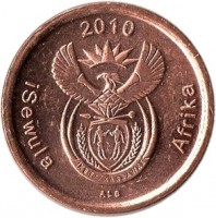 obverse of 5 Cents - ISEWULA AFRIKA (2010) coin with KM# 493 from South Africa. Inscription: 2010 iSewula Afrika ALS