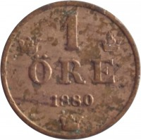 reverse of 1 Öre - Oscar II - Large letters (1879 - 1905) coin with KM# 750 from Sweden. Inscription: 1 ØRE 1882