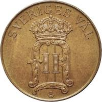 obverse of 5 Öre - Oscar II (1906 - 1907) coin with KM# 770 from Sweden.
