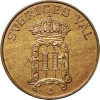 obverse of 2 Öre - Oscar II (1906 - 1907) coin with KM# 769 from Sweden. Inscription: SVERIGES V · L II