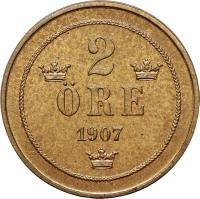 reverse of 2 Öre - Oscar II (1906 - 1907) coin with KM# 769 from Sweden. Inscription: 2 · RE 1907