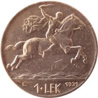 reverse of 1 Lek - Zog I (1926 - 1931) coin with KM# 5 from Albania. Inscription: V 1 · LEK 1931