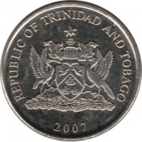 obverse of 25 Cents (1976 - 2014) coin with KM# 32 from Trinidad and Tobago. Inscription: REPUBLIC OF TRINIDAD AND TOBAGO 2007
