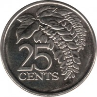 reverse of 25 Cents (1976 - 2014) coin with KM# 32 from Trinidad and Tobago. Inscription: 25 CENTS