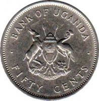 obverse of 50 Cents (1966 - 1974) coin with KM# 4 from Uganda. Inscription: BANK OF UGANDA FOR GOD AND MY COUNTRY · FIFTY CENTS ·