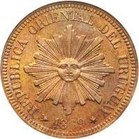obverse of 2 Centésimos (1869) coin with KM# 12 from Uruguay. Inscription: REPUBLICA ORIENTAL DEL URUGUAY 1869