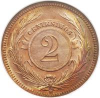 reverse of 2 Centésimos (1869) coin with KM# 12 from Uruguay. Inscription: CENTESIMOS 2 A TASSET