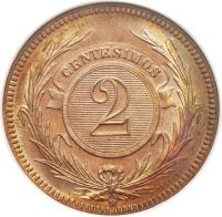 reverse of 2 Centésimos (1869) coin with KM# 12 from Uruguay. Inscription: CENTESIMOS 2 A TASSET
