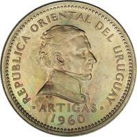 obverse of 1 Peso (1960) coin with KM# 42 from Uruguay. Inscription: REPUBLICA ORIENTAL DEL URUGUAY ARTIGAS 1960