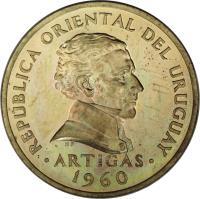 obverse of 5 Centésimos (1960) coin with KM# 38 from Uruguay. Inscription: REPUBLICA ORIENTAL DEL URUGUAY .ARTIGAS. 1960