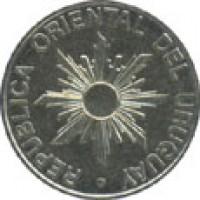 obverse of 50 Nuevo Pesos (1989) coin with KM# 94 from Uruguay. Inscription: REPUBLICA ORIENTAL DEL URUGUAY