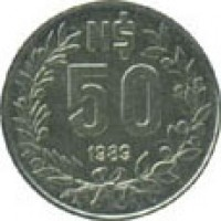 reverse of 50 Nuevo Pesos (1989) coin with KM# 94 from Uruguay. Inscription: N$ 50 1989