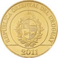 obverse of 5 Pesos Uruguayos - Native Fauna of Uruguay: Rhea (2011 - 2014) coin with KM# 137 from Uruguay. Inscription: REPUBLICA ORIENTAL DEL URUGUAY 2011