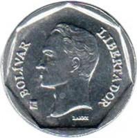 obverse of 10 Bolívars - Non magnetic (2001 - 2004) coin with Y# 80a from Venezuela. Inscription: BOLIVAR LIBERTADOR BARRE