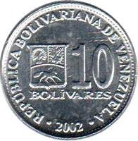 reverse of 10 Bolívars - Non magnetic (2001 - 2004) coin with Y# 80a from Venezuela. Inscription: REPÚBLICA BOLIVARIANA DE VENEZUELA 10 BOLIVARES 2002