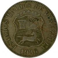 obverse of 5 Céntimos (1896 - 1938) coin with Y# 27 from Venezuela. Inscription: ESTADOS UNIDOS DE VENEZUELA 1936