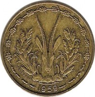 obverse of 10 Francs (1959) coin with KM# 1 from Western Africa (BCEAO). Inscription: 1959