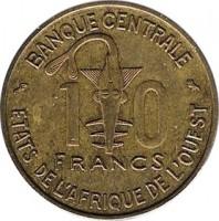 reverse of 10 Francs (1959) coin with KM# 1 from Western Africa (BCEAO). Inscription: 10 FRANCS BANQUE CENTRALE ETATS DE L'AFRIQUE DE L'OUEST