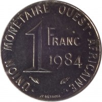 reverse of 1 Franc (1976 - 2002) coin with KM# 8 from Western Africa (BCEAO). Inscription: UNION MONETAIRE OUEST-AFRICAINE 1 FRANC 1984