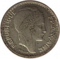 obverse of 20 Francs (1949 - 1956) coin with KM# 91 from Algeria. Inscription: REPUBLIQUE FRANCAISE P.TURIN