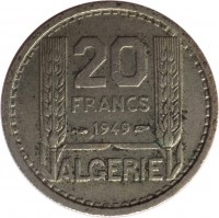 reverse of 20 Francs (1949 - 1956) coin with KM# 91 from Algeria. Inscription: 20 FRANCS 1949 ALGERIE